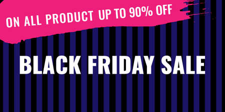 Black Friday promotion web banner with pink brush drawing. Sale concept.