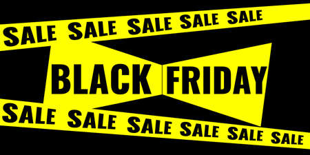 Black Friday event sale modern banner with yellow ribbon and bow on black background. Advertising campaign concept.