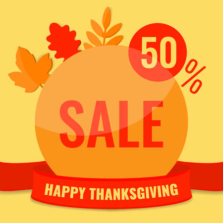 Autumn sale discount banner with autumn leaves. 50 OFF discount concept.