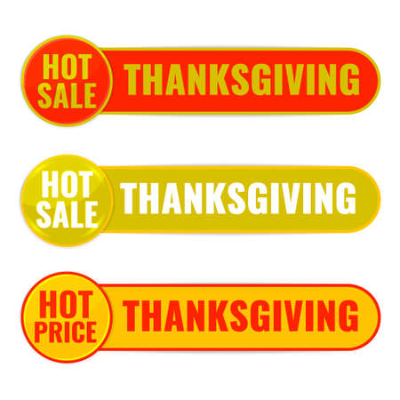 Set of Autumn discount banners. Hot sale Thanksgiving concept.