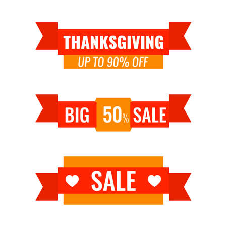 Set of Autumn advertising ribbons banners. Big Thanksgiving sale concept.