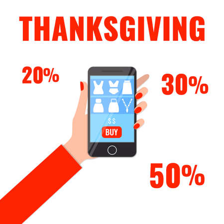 Autumn advertising banner with womans hand holding smartphone with shopping app. Thanksgiving sale concept. 일러스트