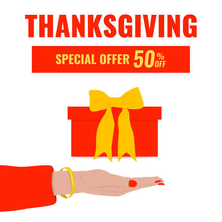 Autumn advertising banner with womans hand and gift box. We give you a special offer concept. Thanksgiving sale.