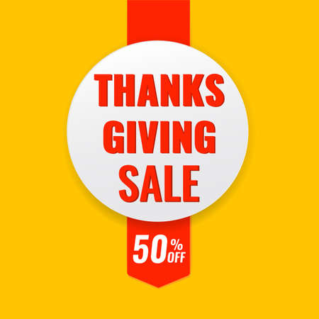 Autumn advertising banner with ribbon. Thanksgiving sale concept.