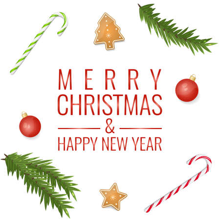 Christmas background with decoration: hard candy, cookies, fir branch. Merry Christmas and Happy New Year card concept.