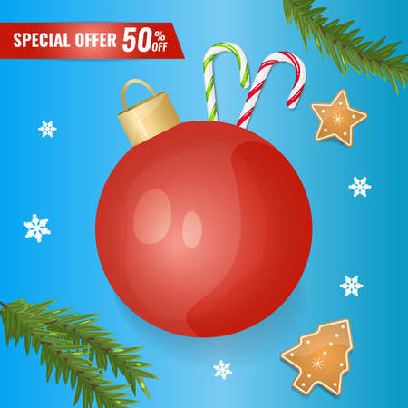 Holidays sale banner with christmas decoration: ball, snowflakes, cookies, fir branch.
