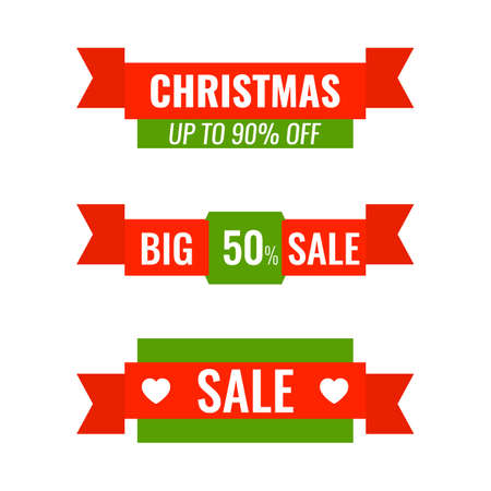 Set of Christmas advertising ribbons banners. Big winter sale concept. 일러스트