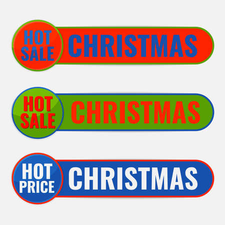 Set of Christmas advertising ribbons banners. Hot price sale concept.