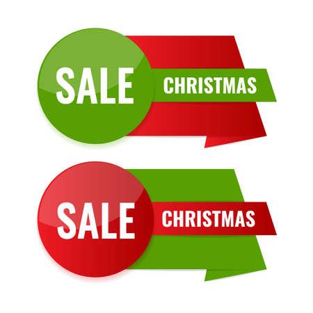Set of Christmas discount banners. Season sale concept.