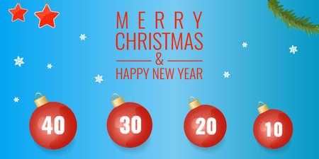 Holidays sale gorizontal banner with christmas decoration: balls, snowflakes, stars, fir branch.