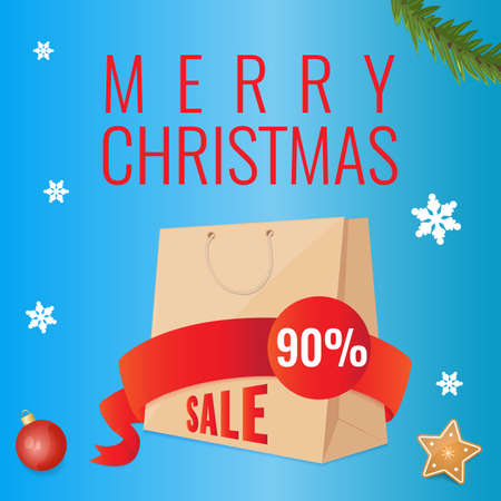 Christmas discount banners with paper shopping bag, snowflakes and christmas decoration. Season sale concept.
