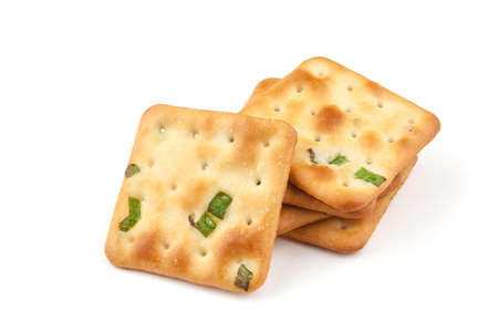 Crispy, crunchy and delicious shallot biscuits close-up on white background Banco de Imagens