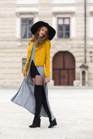 knee boots: Woman with over the knee boots and leather jacket Stock Photo