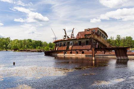 Sunken Ship in Pripyat river (Chernobyl exclusion zone)