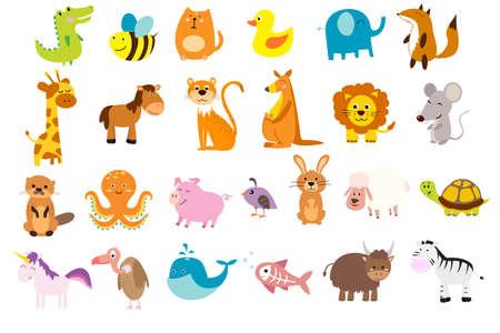 horse fish: illustration of cute animals and birds Illustration