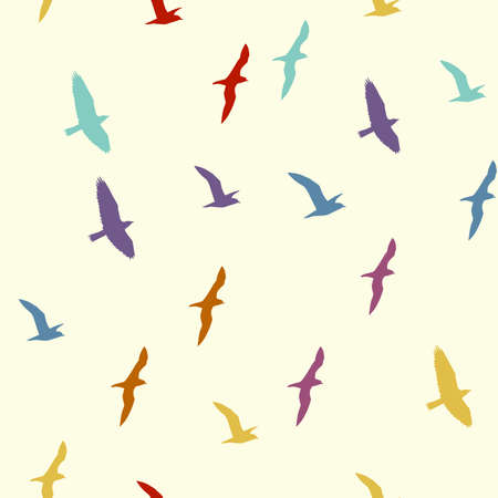 Colorful silhouettes of flying birds seamless pattern