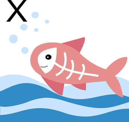 illustration animals with a letter of the alphabet. X-ray fish for the letter x.