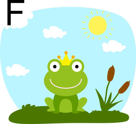 illustration of a frog in a clearing with a letter of the alphabet F