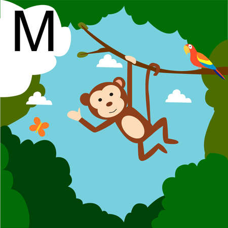 alphabet tree: Cute animal alphabet for ABC book.Cute cartoon Monkey for M letter