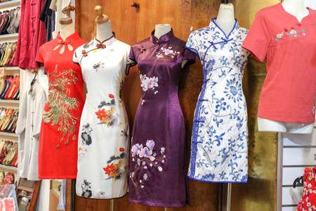 Chinese traditional dress store with cheongsam. 版權商用圖片