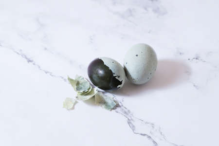 Preserved duck eggs (traditional Chinese food) on white background.