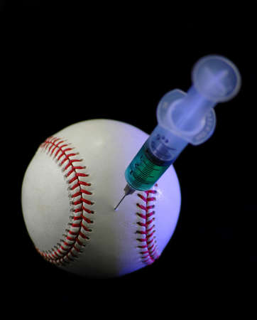 cheater: Baseball and syringe symbolize one of the most controversial issues in baseball and other sports today: the illegal use of performance enhancing drugs.