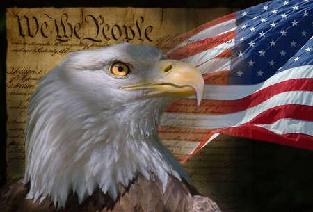 米国の旗、白頭ワシ、憲法のモンタージュ 写真素材