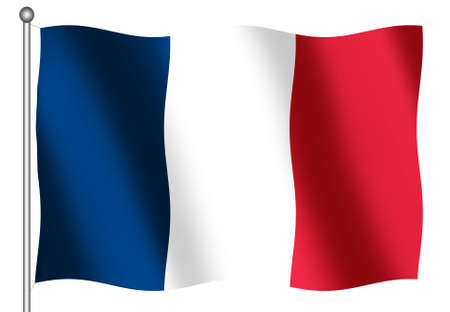 French Flag waving on a white Background