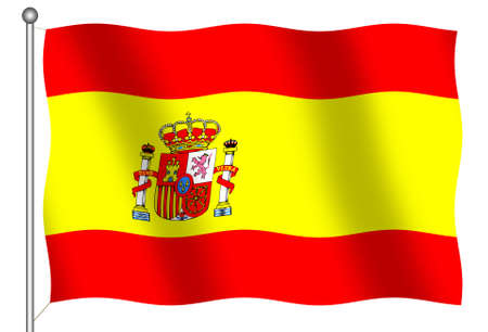 Flag of Spain on white background Stock Photo