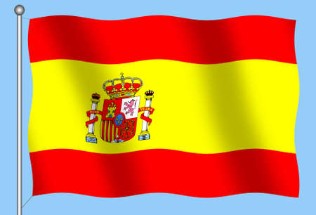 Flag of Spain on blue background Stock Photo
