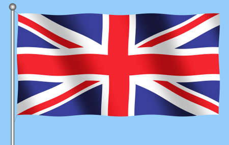 Illustration of Flag of Great Britain with blue background
