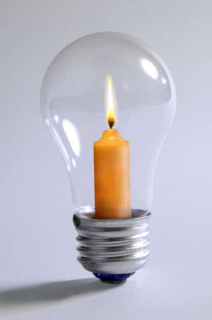 Light bulb with candle inside Stock Photo - 491201