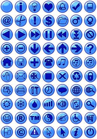 Illustrations of Web icons in dark blue Stock Illustration - 497338