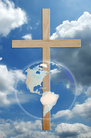 preach: The world and cross over sky