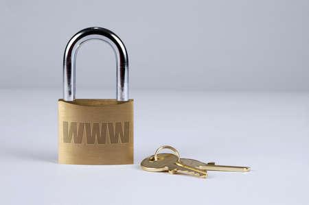 internet security: Lock and keys symbolizing Internet security