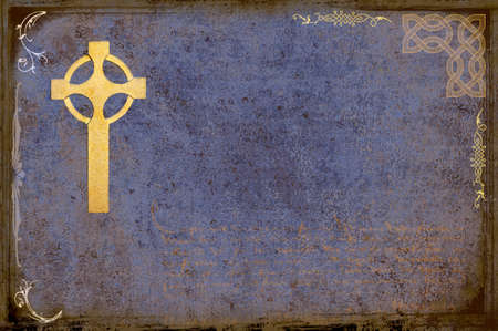 Celtic cross over grungy background photo