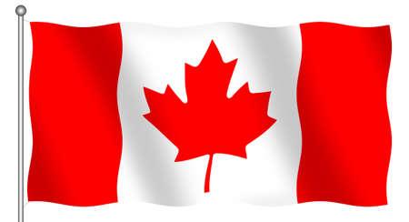 ethnical: Flag of Canada waving (isolated) Stock Photo