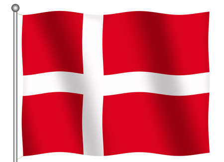 danish flag: Flag of Denmark waving (With Clipping Path)