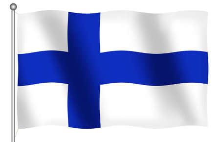 ethnical: Flag of Finland waving (With Clipping Path)