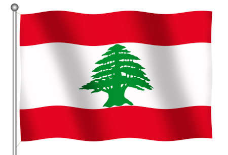 undulate: Flag of Lebanon waving (With Clipping Path) Stock Photo