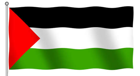 Flag of Palestine waving (With Clipping Path)