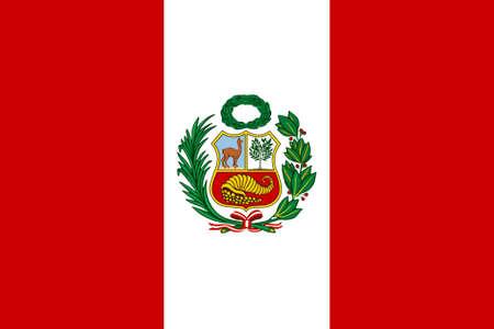 bandera peru: Bandera peruana con el emblema nacional