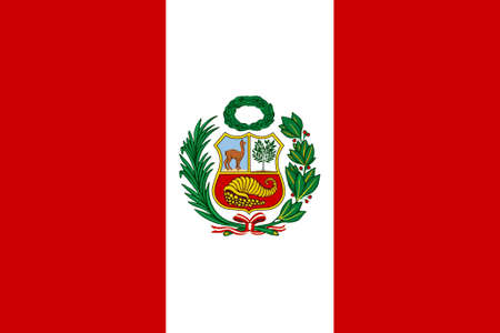 america flag: Peruvian flag with National Emblem Stock Photo