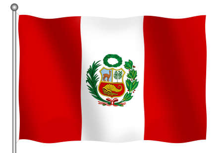 Flag of Peru waving (With Clipping Path)