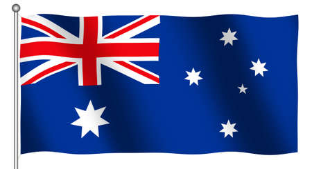 Flag of Australia waving (With Clipping Path) photo