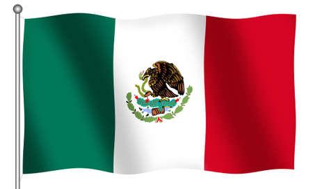 Bandera de Mexico ondeando (Con Clipping Path)  Foto de archivo - 524218