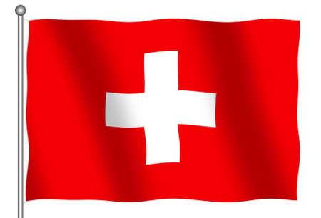 Flag of Switzerland waving (With Clipping Path) 版權商用圖片