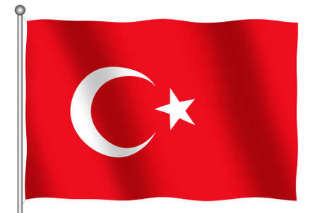 Flag of Turkey waving (With Clipping Path) photo