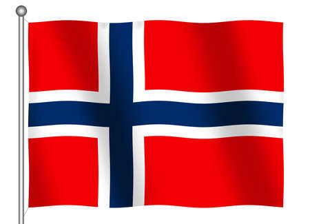 Flag of Norway waving (With Clipping Path)
