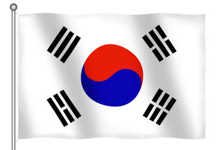 Flag of South Korea waving (With Clipping Path) Stock Photo